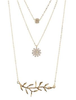 leaf-&-daisy-layering-necklaces---3-pack by charlotte-russe