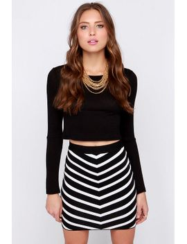 fit-to-rule-black-and-ivory-striped-bodycon-skirt by lulus