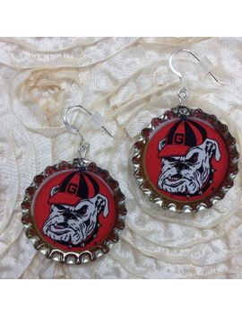 licensed-collegiate-bottlecap-earrings---univ-of-georgia-dawgface by annpedenjewelry
