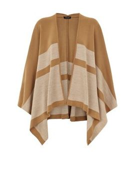 camel-block-stripe-print-blanket-wrap by new-look
