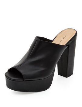 black-chunky-block-heel-mules by new-look