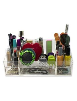 acrylic-cosmetic-organizer-w_-removable-drawers-(19-compartments)---perfect-for-nail-polish,-jewelry,-lipstick,-makeup by deco