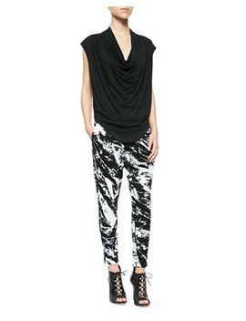 feather-jersey-tee-&-pleated-terra-print-sweatpants by helmut-lang