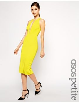 asos-petite-ultra-plunge-t-bar-scuba-pencil-dress by asos-petite