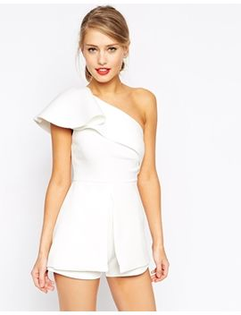 asos-playsuit-with-one-shoulder-ruffle by asos-collection
