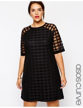 asos-curve-exclusive-shift-dress-in-cage-mesh by asos