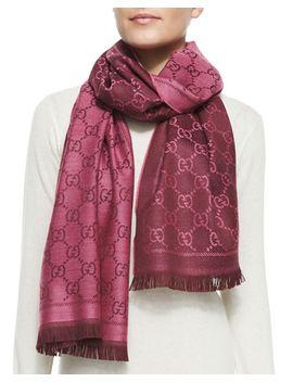 gg-stencil-scarf,-magenta by gucci
