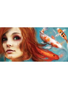 koi-girl-by-piper-rudich-crying-woman-redhead-fish-orange-koi-art-print-poster by ebay-seller