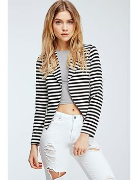 striped-collarless-jacket by forever-21