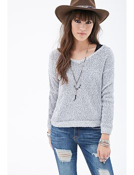 marled-contrast-trim-v-neck-sweater by forever-21