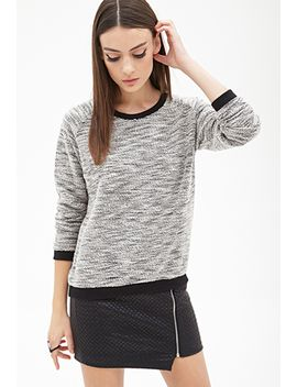 marled-contrast-trim-sweatshirt by forever-21