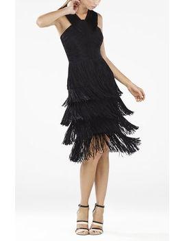nataley-fringe-halter-dress by bcbgmaxazria