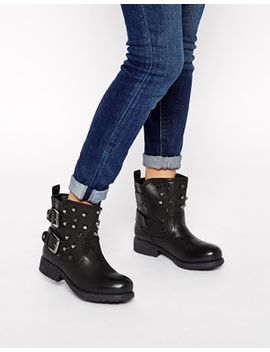 london-rebel-soldier-stud-biker-boots by shoes