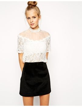 asos-victoriana-lace-and-organza-top by asos-collection