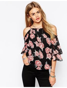 asos-cold-shoulder-top-in-vintage-floral-print by asos-collection