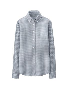 women-oxford-check-long-sleeve-shirt by uniqlo