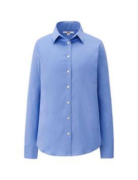 women-supima-cotton-stretch-long-sleeve-shirt by uniqlo