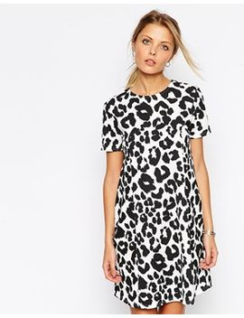 asos-swing-dress-in-textured-animal-print by asos-collection