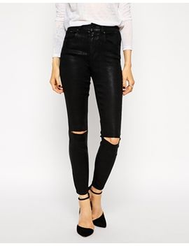 asos-ridley-skinny-ankle-grazer-jeans-in-coated-black-with-ripped-knees by asos-collection