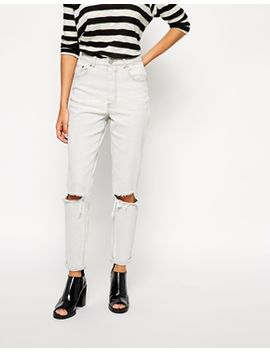 asos-farleigh-high-waist-slim-mom-jeans-in-smudge-grey-with-busted-knees by asos-collection