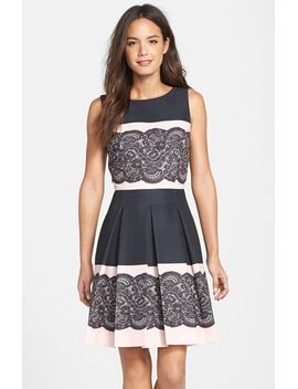 lace-print-pleated-fit-&-flare-dress by tahari