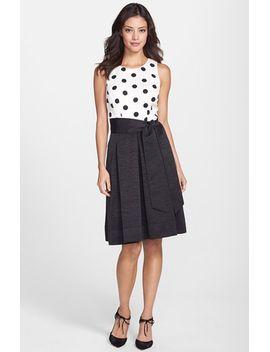 dot-bodice-faille-fit-&-flare-dress by eliza-j