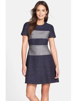 romee-stripe-fit-&-flare-dress by bcbgmaxazria