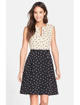dot-crepe-fit-&-flare-dress by adrianna-papell