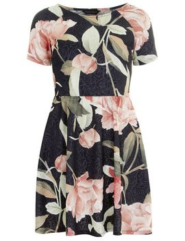 lily-print-skater-dress by dorothy-perkins