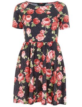 black-floral-textured-dress by dorothy-perkins