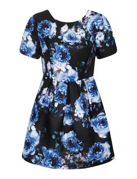 girls-on-film-blue-floral-fit-flare-dress by dorothy-perkins