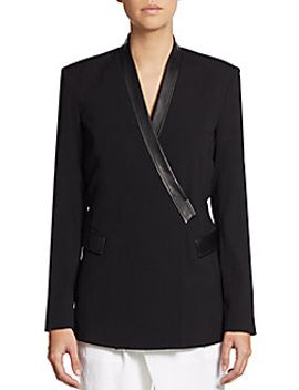 seamed-leather-trimmed-jacket by helmut-lang