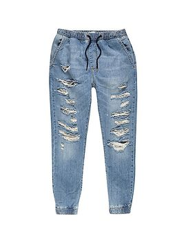 light-wash-denim-ripped-drawstring-joggers by river-island