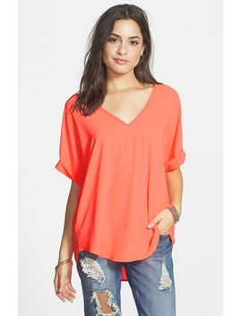 cuff-sleeve-woven-tee by lush