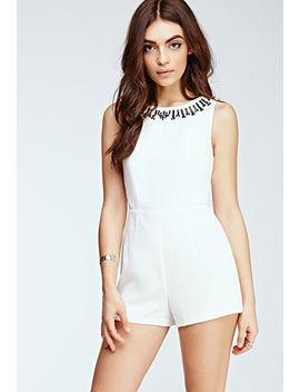 faux-gem-embellished-woven-romper by forever-21
