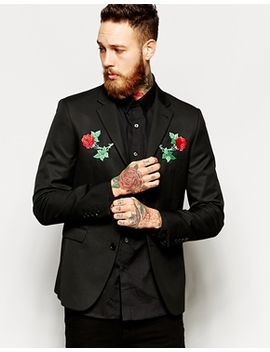 asos-slim-fit-blazer-with-embroidery by asos