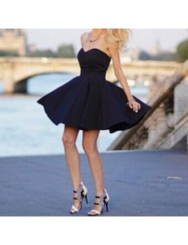 sexy-strapless-sleeveless-solid-color-black-skater-dress-for-women by sammy-dress