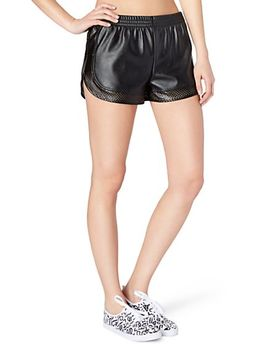mesh-inset-faux-leather-athletic-short by rue21