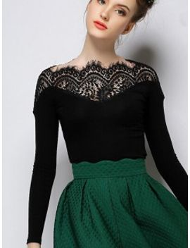 black-lace-panel-tight-long-sleeve-t-shirt by choies