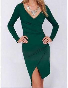 green-v-neck-asymmetric-ruched-dress by choies
