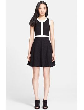 marie-contrast-trim-knit-fit-&-flare-dress by mcginn
