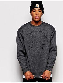 asos-oversized-sweatshirt-in-neoprene-with-hell-yeah-print by asos