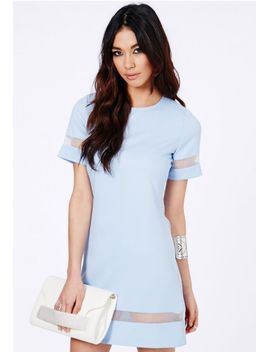 soledad-mesh-panel-shift-dress-in-baby-blue by missguided
