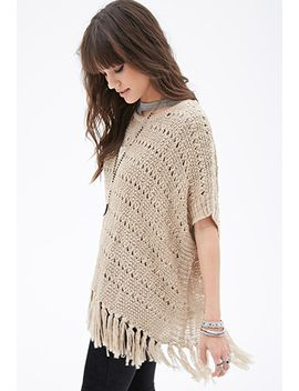fringed-metallic-threaded-poncho by forever-21