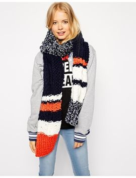 asos-scarf-with-chunky-stripe-cable-mixed-knit by asos-collection
