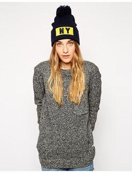 liquorish-ny-beanie-hat-with-pom-pom by asos-brand