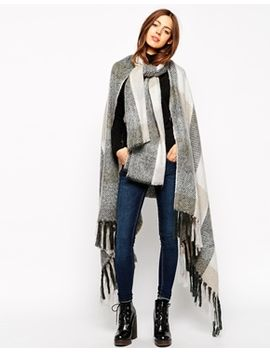 asos-cape-with-scarf-in-oversized-check by asos-collection