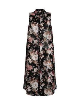 black-chiffon-floral-print-sleeveless-midi-shirt by new-look