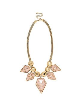 gold-tone-pink-flecked-statement-necklace by river-island