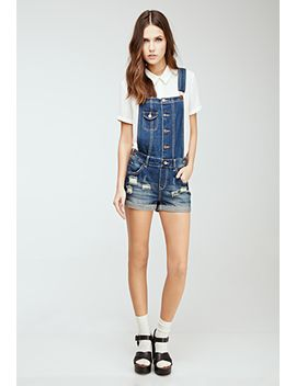 distressed-overall-shorts by forever-21